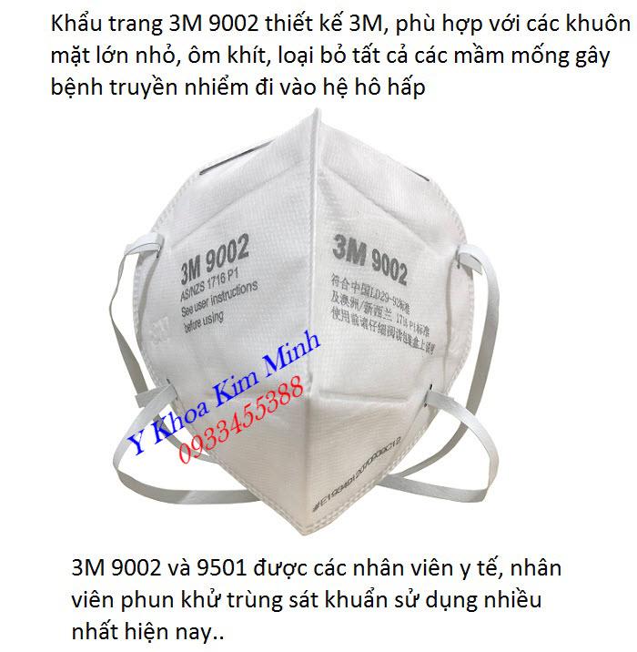 Khẩu trang 3M 9002 được các nhân viên y tế, nhân viên khử trùng sử dụng rộng rãi ngày nay - Y Khoa Kim Minh
