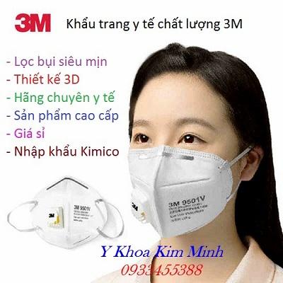 Khẩu trang y tế 3M 9501 có van thở dùng phòng dịch, ngăn lây nhiêm virus hiệu quả - Y khoa Kim Minh