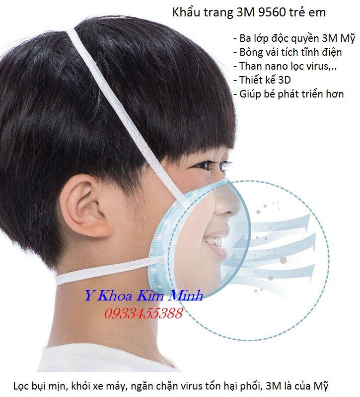 Khẩu trang y tế 3M 9560 dùng cho trẻ em là loại khẩu trang tốt nhất hiện nay - Y Khoa Kim Minh