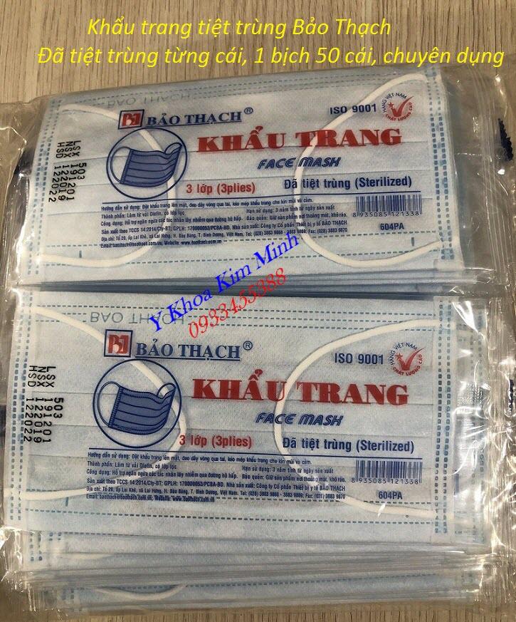 Khẩu trang tiệt trùng từng cái của Bảo Thạch chuyên dụng phòng chống cúm virus viêm phổi cấp - Y Khoa Kim Minh