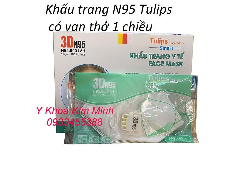 Khẩu trang y tế N85 của Tulips có van thở 1 chiều, tăng lượng oxy cho hệ hô hấp