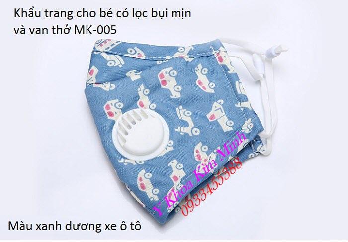 Khẩu trang cho bé 4-12 tuổi lọc bụi mịn, có van thở màu xanh dương ô tô MK-005 - Y Khoa Kim Minh