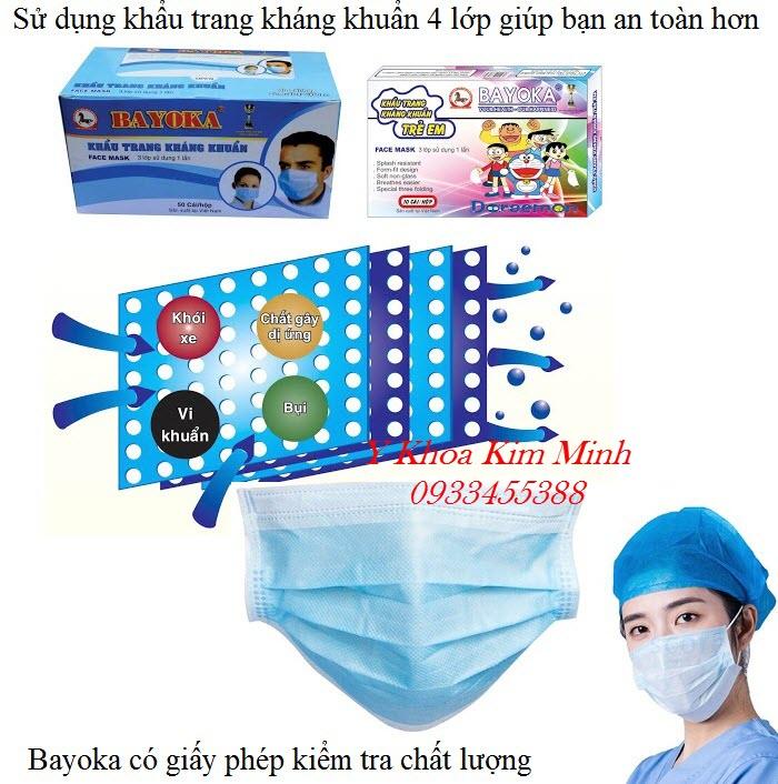 Khẩu trang y tế có lớp kháng khuẩn 4 lớp nhãn hiệu Bayoka - Y Khoa Kim Minh
