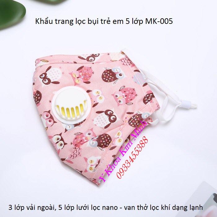 Khẩu trang trẻ em lọc bụi mịn PM2.5 MK-005 bán tại Tp Hồ Chí Mnh - Y Khoa Kim Minh