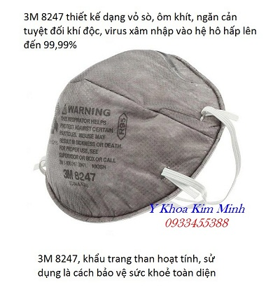 Khẩu trang y tế 3M 8247 sử dụng than hoạt tính nano có tính năng lọc vi khuẩn vi trùng tôt nhất cho phòng dịch cúm - Y Khoa Kim Minh