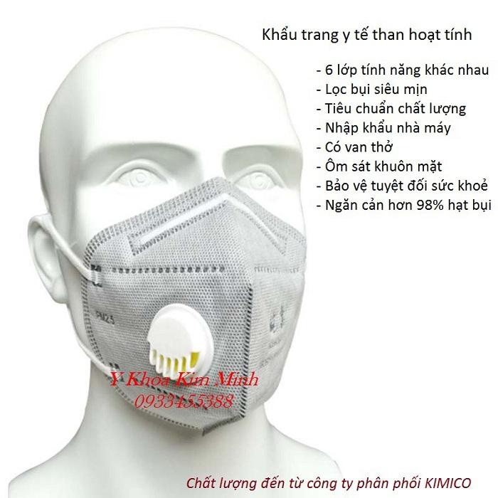 Khẩu trang than hoạt tính 6 lớp chuyên dùng lọc bụi siêu mịn PM2.5 - Y khoa Kim Minh