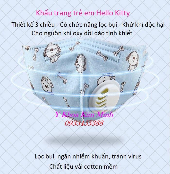 Khẩu trang trẻ em Hello Kitty có chức năng lọc bụi mịn PM2.5 - Y Khoa Kim Minh