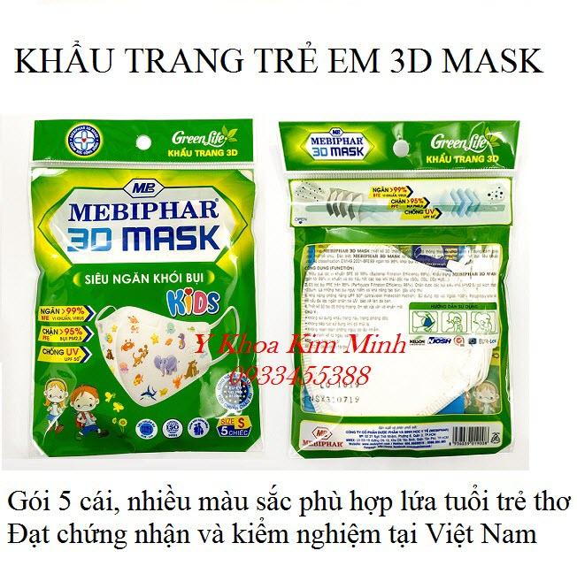 Khẩu trang y tế 5 lớp dùng cho trẻ em 3D Mask nhãn hiệu Mebiphar - Y Khoa Kim Minh