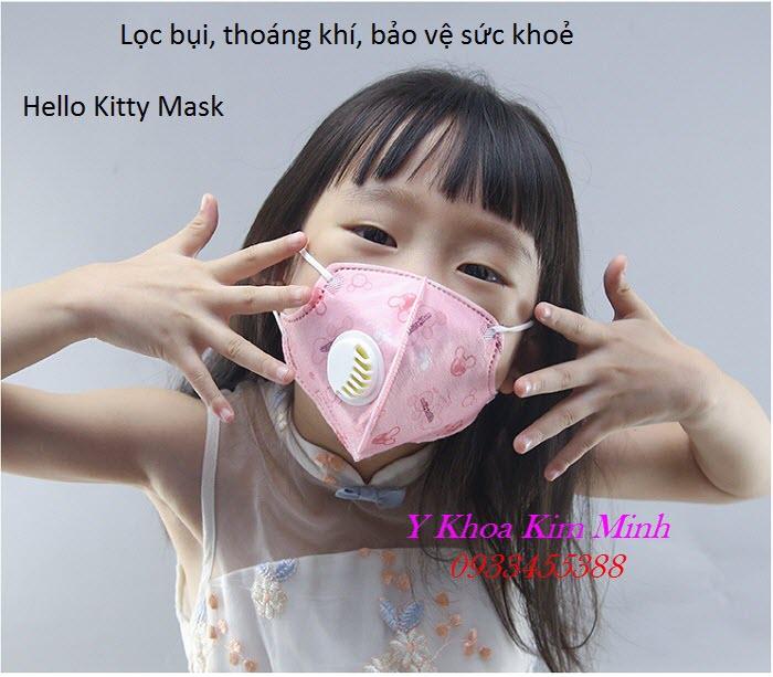 Hello Kitty Mask, khẩu trang trẻ em có chức năng lọc bụi mịn và van thở - Y Khoa Kim Minh