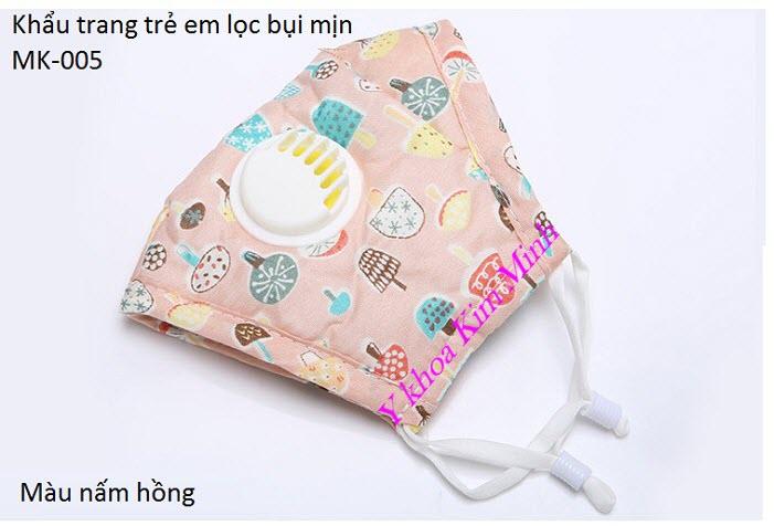 Khẩu trang y tế trẻ em có lọc bụi mịn màu nấm hồng - Y Khoa Kim Minh