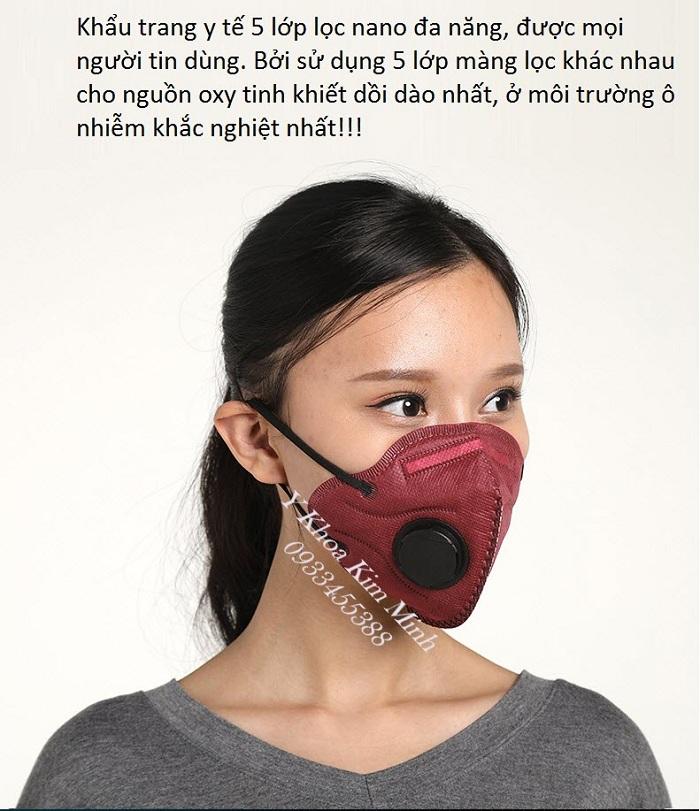 Khau trang y te 5 lop cong nghe loc 3D mang sinh hoc hieu qua ngan can khong khi o nhiem PM2.5 - Y Khoa Kim Minh