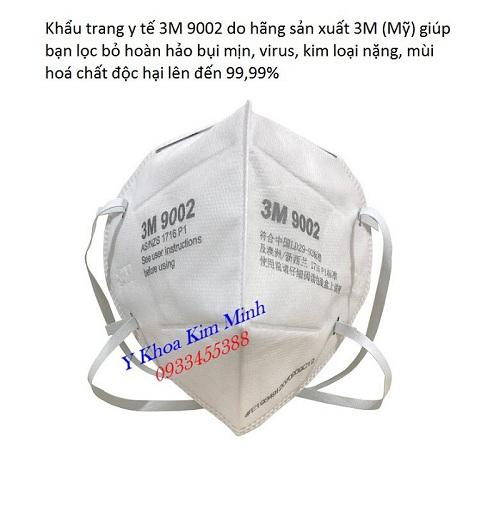 Khẩu trang y tế 3M 9002 chất lượng cao cấp dùng trong phòng dịch virus Covid-19 - Y Khoa Kim Minh