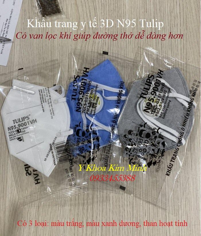 Khau trang y te nhan hieu Tulips 3D N95 có van, bán giá sỉ tại Tp Hồ Chí Minh - Y Khoa Kim Minh