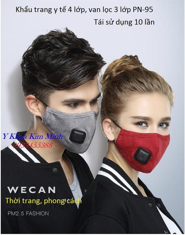 Khẩu trang y tế 4 lớp bằng vải có van lọc khuẩn tái sử dụng 10 lần PN-95 - Y khoa Kim Minh