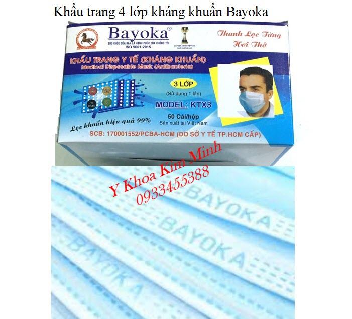 Khẩu trang y tế 4 lớp có kháng khuẩn nhãn hiệu Bayoka - Y Khoa Kim  Minh