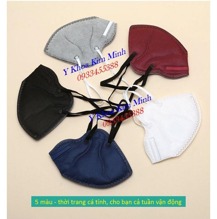Khẩu trang y tế 5 lớp van lọc oxy có 5 màu sắc đen, trắng, xanh, đỏ, xám - Y Khoa Kim Minh