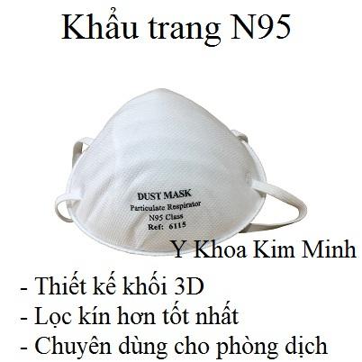 Khẩu trang y tế N95 chuyên dùng cho bác sĩ, nhân viên dịch tế, nhân viên y tế trong phòng dịch - Y khoa Kim Minh