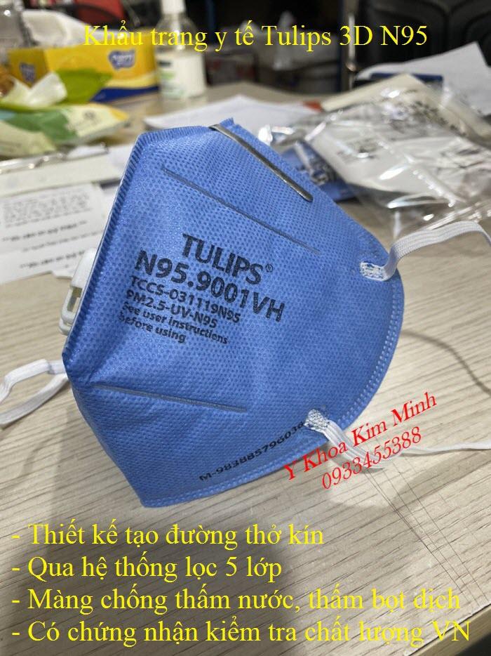 Khẩu trang y tế nhãn hiệu Tulips 3D N95 có chứng nhận chất lượng và kiểm định của Việt Nam - Y khoa Kim Minh