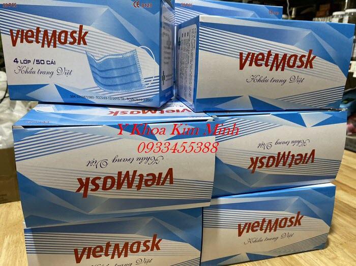 Khẩu trang y tế Việt Mask là loại khẩu trang 4 lớp, có vải kháng khuẩn, sử dụng an toàn, phòng tránh dịch lây nhiễm chéo - Y khoa Kim Minh