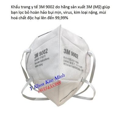 Khẩu trang y tế phòng dịch hãng sản xuất 3M của Mỹ mã 9002 - Y khoa Kim Minh