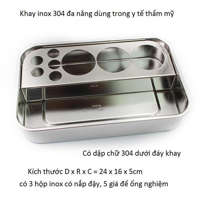 Nhap khau phan phoi khay inox 304 co trung 24x16x5cm - Y khoa Kim Minh