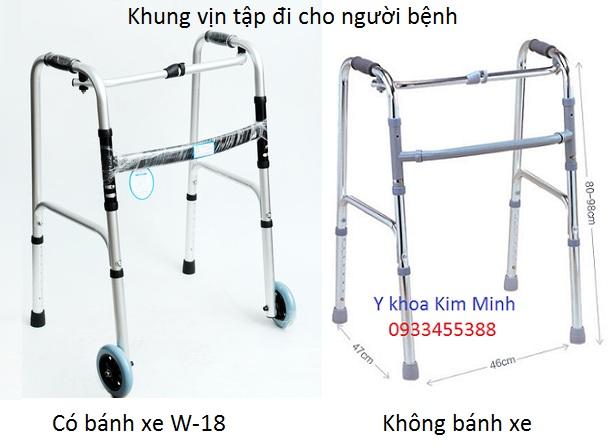 Khung vin tap di bang nhom cho nguoi benh khong banh xe va co banh xe - Y khoa Kim Minh