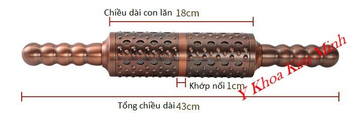 Kích thước thực tế của con lăn ngải đồng đôi cao cấp - Y Khoa Kim Minh