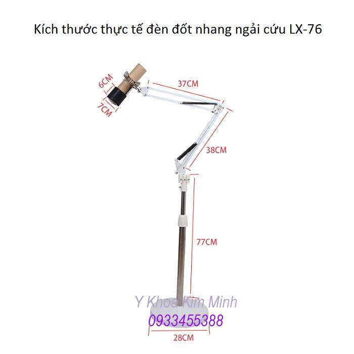Kích thước thật đèn đốt xông nhang ngải cứu 1 nhánh XL-76 - Y Khoa Kim Minh