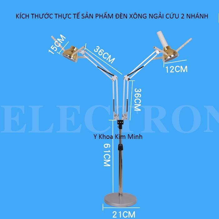 Kích thước đèn xông ngải cứu 2 nhánh bán tại Y khoa Kim Minh