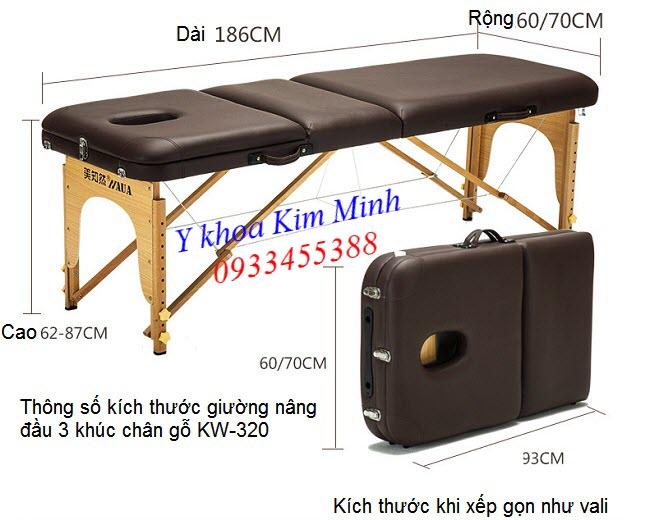 Kích thước giường xếp vali nâng đầu 3 khúc chân gỗ KW-320 - Y khoa Kim Minh