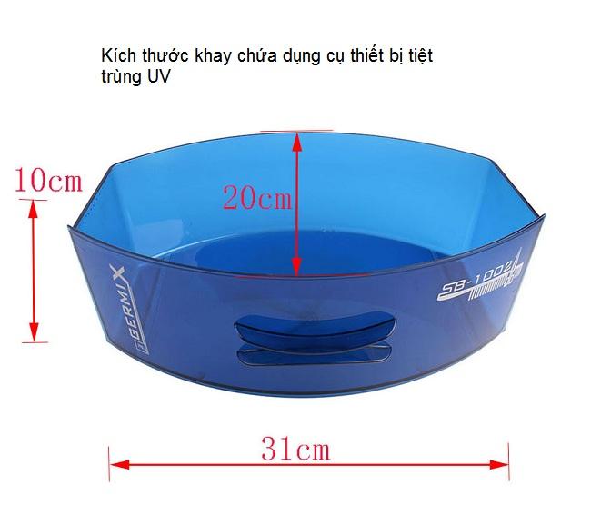 Kích thước khay chứa dụng cụ thiết bị pen kéo tiệt trùng UV - Y khoa Kim Minh