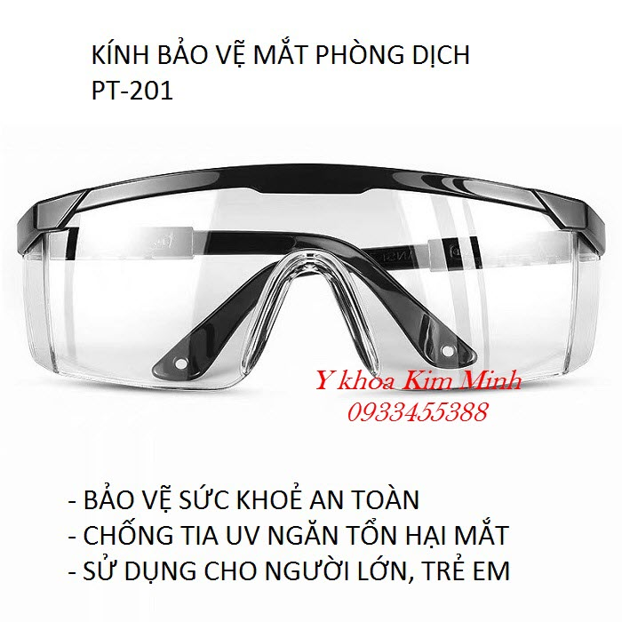 Kính bảo vệ mắt phòng dịch nhập khẩu Đài Loan PT-201 bán tại Tp Hồ Chí Minh - Y Khoa Kim Minh