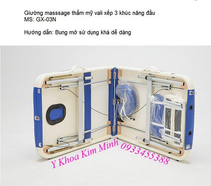 Giường nâng đầu 3 khúc chân nhôm dạng vali GX-03N - Y Khoa Kim Minh