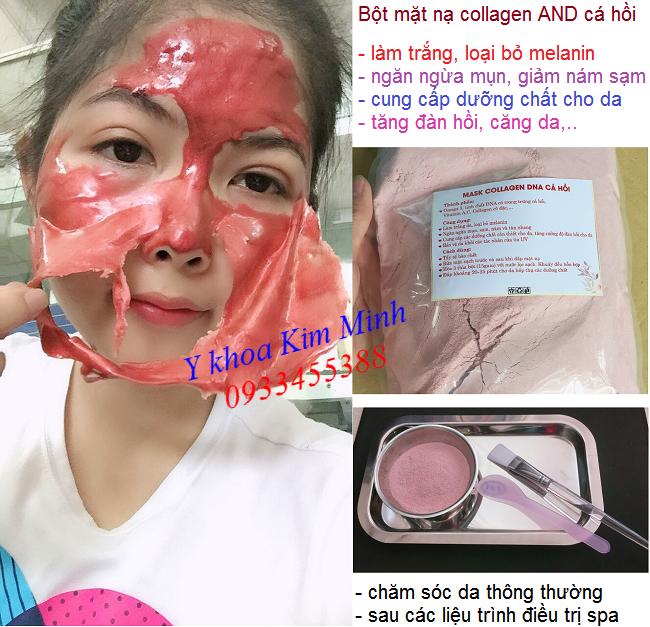 Công dụng, cách sử dụng bột mặt nạ Mask Collagen DNA cá hồi làm trắng trị nám da - Y Khoa Kim Minh