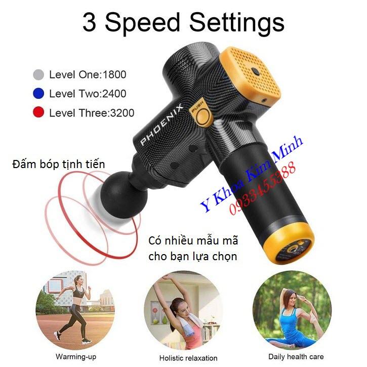 Cung cấp phân phối massage gun muscle Phoenix A2 1500mAh 3 Speed - Y Khoa Kim Minh