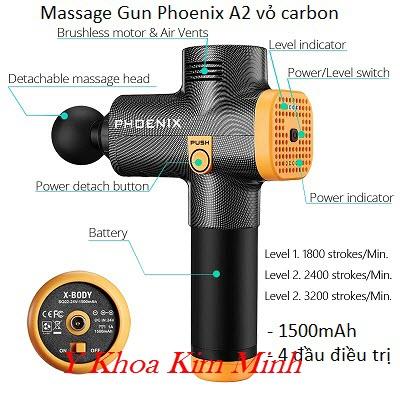 Máy massage gun Phoenix A2 vỏ carbon 4 đầu 1500mAh, 3 tốc độ - Y Khoa Kim Minh