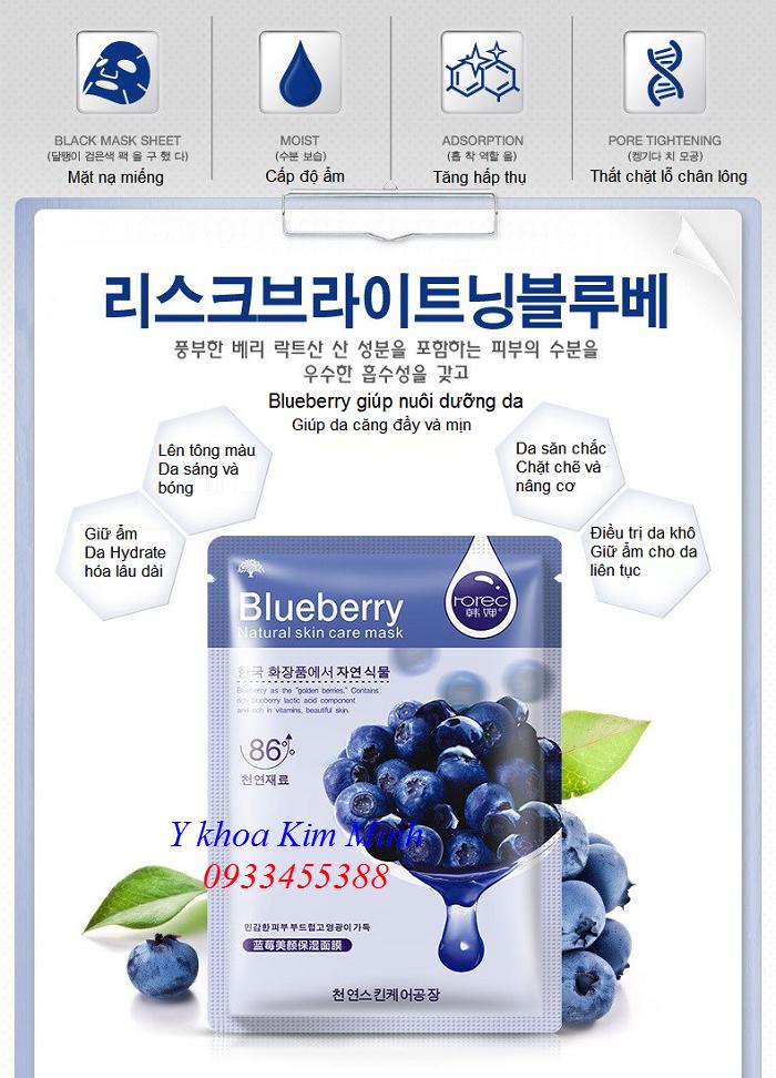 Mat na duong trang da Blueberry Whitening Mask Korea Bioaqua - Y Khoa Kim Minh 0933455388