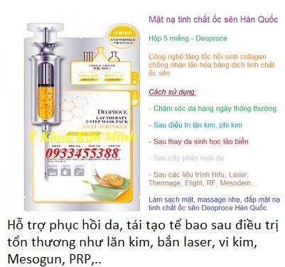 Mat na phuc hoi da sau dieu tri da ton thuong lan kim, laser, vi kim, tiem meso, mat na oc sen Deoproce Han Quoc - Y khoa Kim Minh