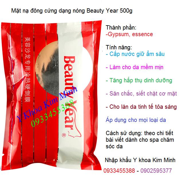 Mặt nạ thạch cao, mặt nạ đông cứng dạng nóng làm sáng mịn da tức thì Beauty Year 500g - Y khoa Kim Minh