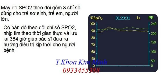 Máy đo nồng độ oxy trong máu trẻ sơ sinh gồm 3 thông số SPO2 oximeter Prince-100F - Y khoa Kim Minh 0933455388