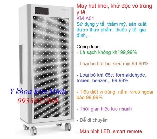 Nơi bán máy hút mùi khử độc phòng mổ phẫu thuật y tế KM-A01 - Y Khoa Kim Minh 0933455388