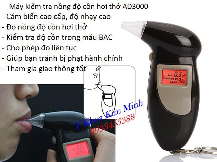 Máy kiểm tra nồng độ cồn hơi thở mini dùng cho cá nhân chính xác AD3000 - Y Khoa Kim Minh