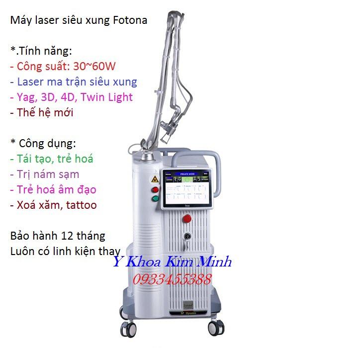 May laser sieu xung Fotona CO2 Fractional 60 W bán ở đâu tại Tp Hồ Chí Minh - Y khoa Kim Minh