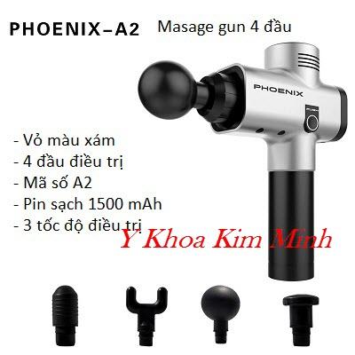 Máy masasge gun Phoenix A2 vỏ màu xám 4 đầu 1500mAh 3 tốc độ - Y Khoa Kim Minh