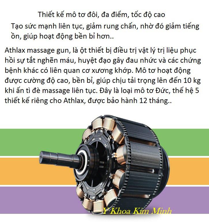 Motor thế hệ 5 của máy massage gun Athlax có 6 đầu điều trị và chỉnh 10 tốc độ ở vòng tua 3600 - Y Khoa Kim Minh