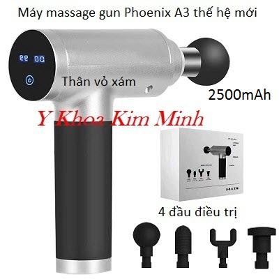 Massage gun Phoenix A3 thế hệ mới 4 đầu điều trị pin sạc 1500mAh, thân máy vỏ xám - Y khoa Kim Minh