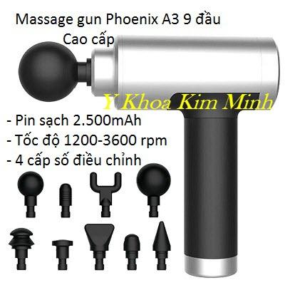 Máy massage gun Phoenix A3 9 đầu điều trị 4 tốc độ pin sạc 2500mAh cao cấp - Y Khoa Kim Minh