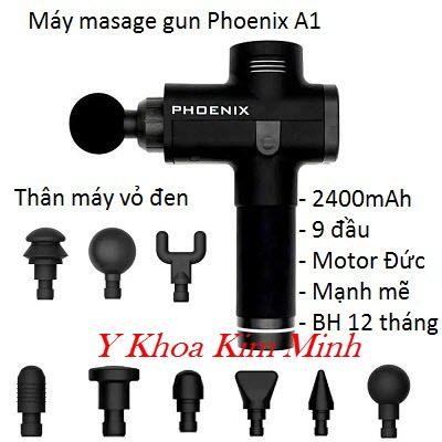 Máy massage gun Phoenix A1 9 đầu điều trị pin sạc 2400mAh thế hệ mới trị đau nhức cơ xương khớp - Y Khoa Kim Minh