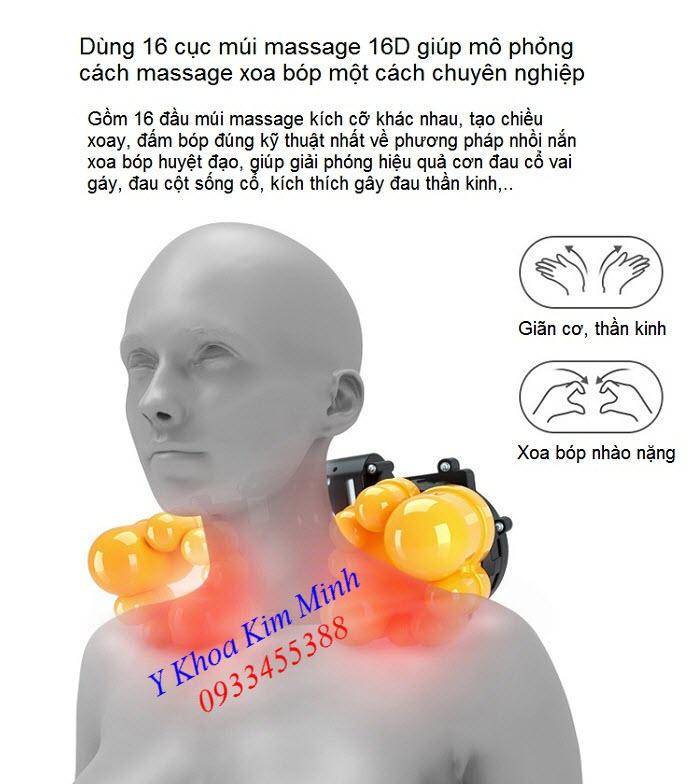 Máy massage trị đau cổ, đau vai gáy 4 trong 1 K16D, gối massage - Y khoa Kim Minh