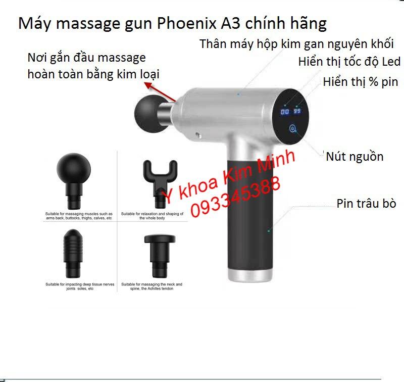 Máy massage gun Phoenix A3 có 6 tốc độ, 4 đầu điều trị, pin 2500mAh
